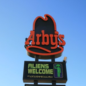 Arbys welcomes aliens...